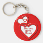 Nurses Have Heart Red Hearts Basic Round Button Key Ring