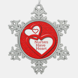 Nurses Have Heart Red Hearts Snowflake Pewter Christmas Ornament