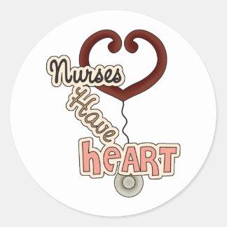 Nurses Have Heart Round Sticker