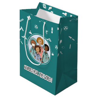 Nurses Heal the World. Custom Gift Paper Bags
