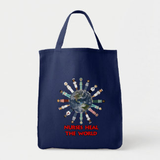 Nurses Heal the World Red Text and Globe Grocery Tote Bag