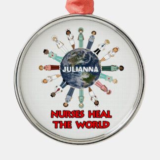Nurses Heal the World with Name Christmas Silver-Colored Round Decoration