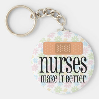 Nurses Make it Better, Bandage Basic Round Button Key Ring