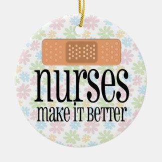 Nurses Make it Better, Bandage Round Ceramic Decoration