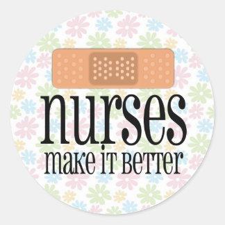 Nurses Make it Better, Bandage Round Sticker