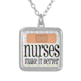 Nurses Make it Better, Bandage Square Pendant Necklace