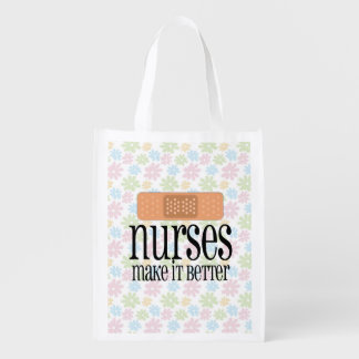 Nurses Make it Better, Cute Nurse Bandage Reusable Grocery Bag