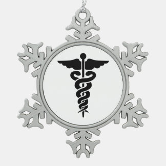 Nurses Medical Symbol Snowflake Pewter Christmas Ornament