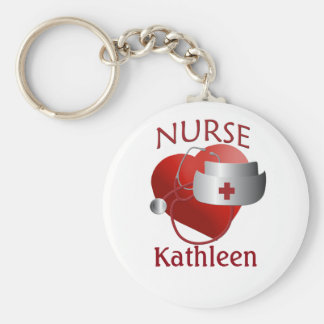 Nurses Name Nurse Heart Button Keychain