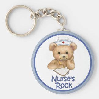 Nurse's Rock Basic Round Button Key Ring