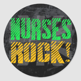 Nurses Rock, Orange and Green Fun Classic Round Sticker