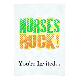 "Nurses Rock, Orange and Green Fun 5"" X 7"" Invitation Card"