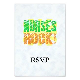 "Nurses Rock, Orange and Green Fun 3.5"" X 5"" Invitation Card"