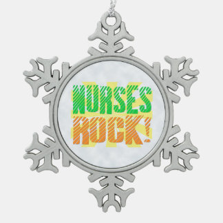Nurses Rock, Orange/Green Fun Nurse Snowflake Pewter Christmas Ornament