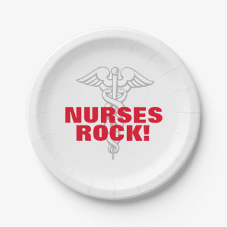 NURSES ROCK paper party plates for nursing week