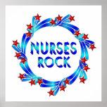 Nurses Rock Red Stars Poster