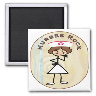 Nurses Rock Square Magnet
