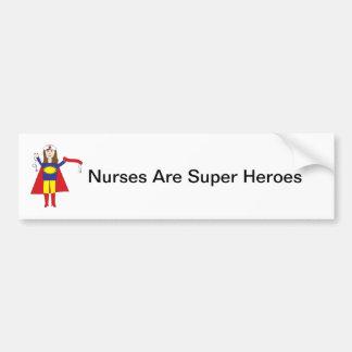 Nurses Super Heroes (Brunette) Bumper Sticker