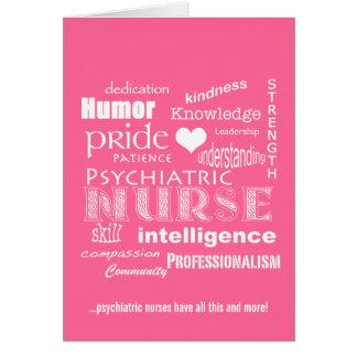 Nurses Week-Psychiatric Nurse Word Cloud-Pink Card