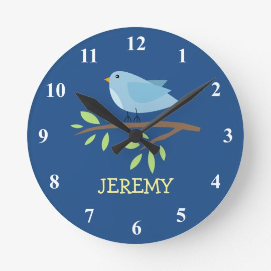 Nursey wall clock with cute bird on a