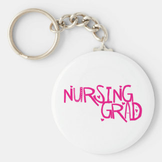 Nursing Grad Basic Round Button Key Ring