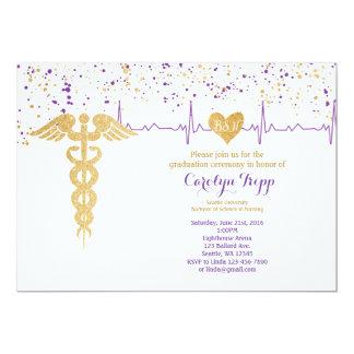 Nursing Graduation Ceremony, BSN- Purple and Gold 13 Cm X 18 Cm Invitation Card