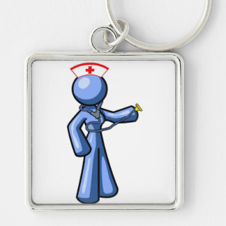 Nursing Icon Animation Silver-Colored Square Key Ring
