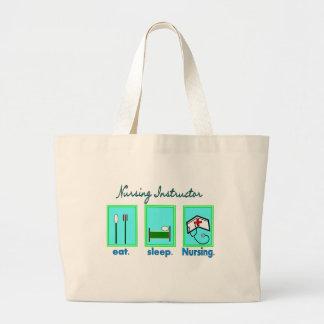 """Nursing Instructor """"Eat, Sleep Nursing"""" Gifts Large Tote Bag"""
