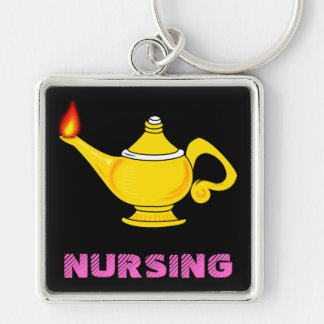 Nursing Lantern Silver-Colored Square Key Ring