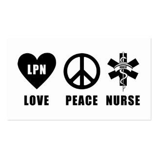 Nursing LPN Love Peace Nurse Pack Of Standard Business Cards