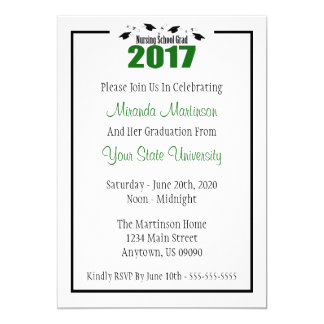 Nursing School 2017 Graduation Invite (Green Caps)