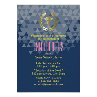 Nursing School Geometric Navy Blue Graduation Card