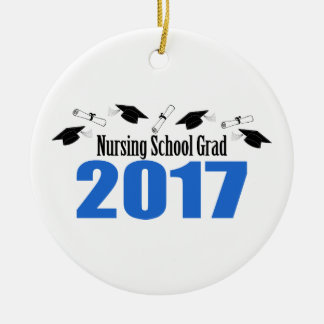 Nursing School Grad 2017 Caps And Diplomas (Blue) Christmas Ornament