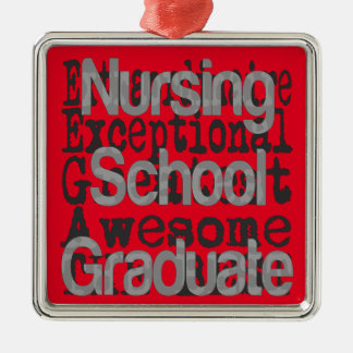 Nursing School Graduate Extraordinaire Silver-Colored Square Decoration