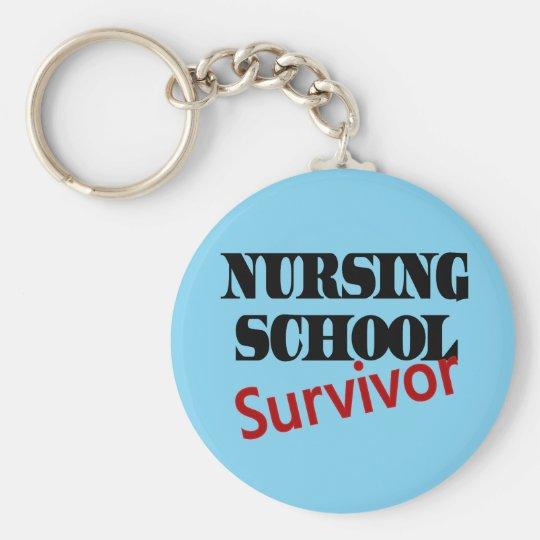 Nursing School Survivor Basic Round Button Key Ring