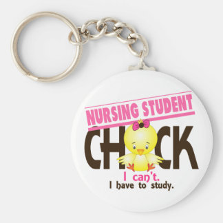Nursing Student Chick 1 Basic Round Button Key Ring