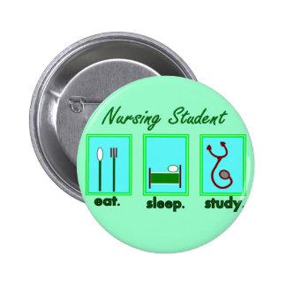 nursing student eat sleep study 6 cm round badge