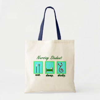 nursing student eat sleep study canvas bags