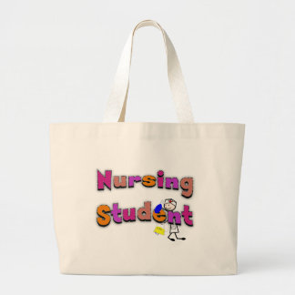 Nursing Student Watercolor Art Stick Person Nurse Large Tote Bag