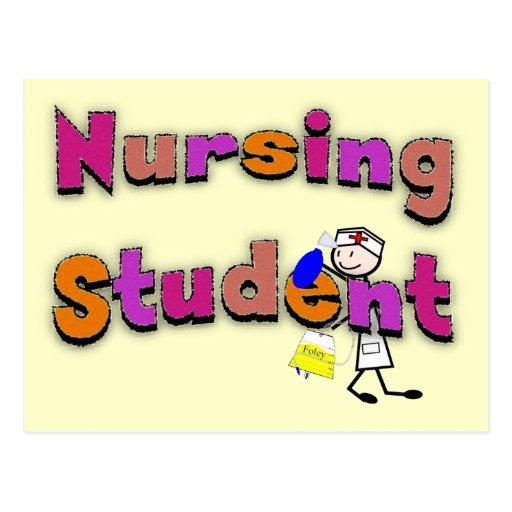 Nursing Student Watercolor Art Stick Person Nurse Postcards