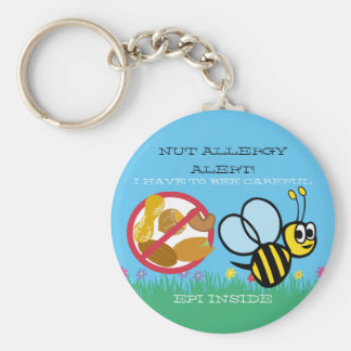 Nut Allergy Alert Bumble Bee Kids Personalized Basic Round Button Key Ring