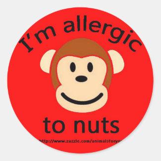 Nut allergy alert monkey classic round sticker