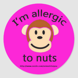 Nut Allergy Pink Round Sticker