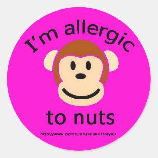 Nut Allergy Pink Round Sticker