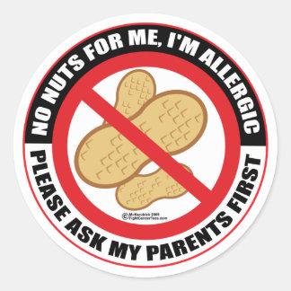 Nut Allergy Round Sticker
