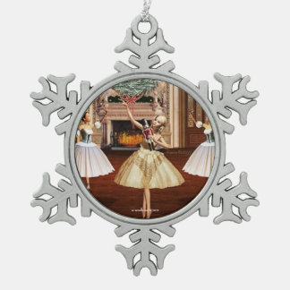 Nutcracker Ballerina Pewter Snowflake Ornament