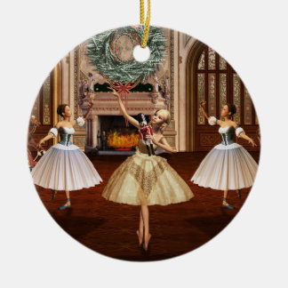 Nutcracker Ballerinas Christmas Round Ornament