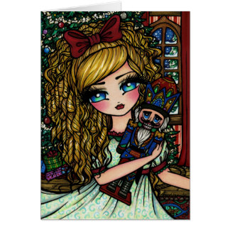 Nutcracker Ballet Girl Christmas Fantasy Art Card