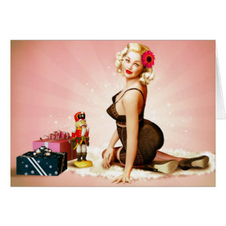 Nutcracker Holiday Pinup Girl Greeting Card