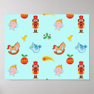 Nutcracker, horse, angel and bird Xmas pattern Poster